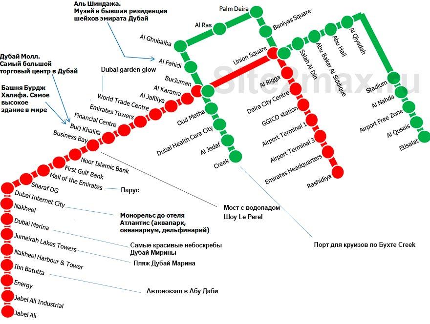 Схема метро Дубая с достопримечательностями от site2max.ru