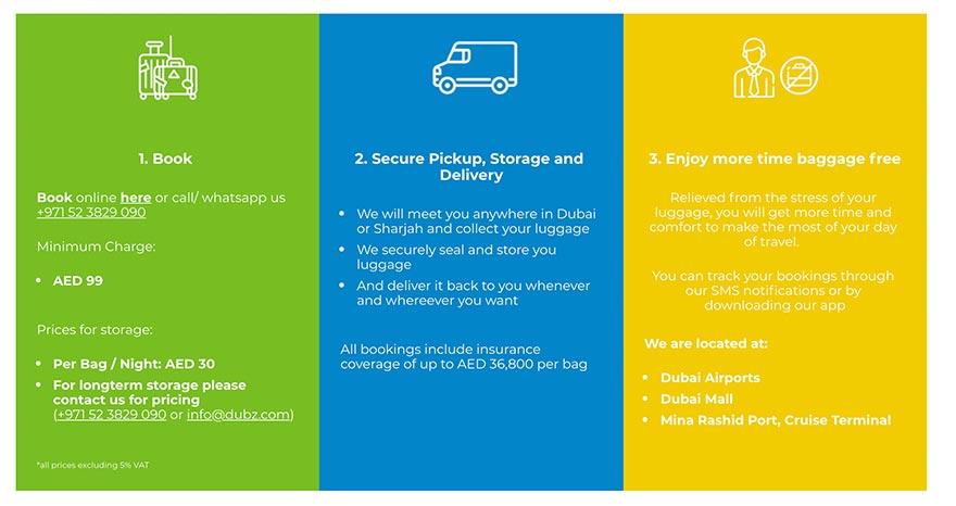 Скрин услуг копании по хранению багажа с телефоном, почтой и ценами